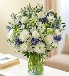 Elegant Blue and White Vased Arrangement from Clermont Florist & Wine Shop, flower shop in Clermont