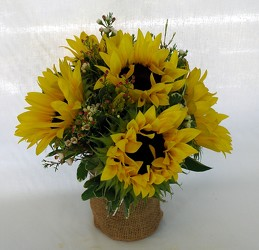Burlap and Sunflowers from Clermont Florist & Wine Shop, flower shop in Clermont