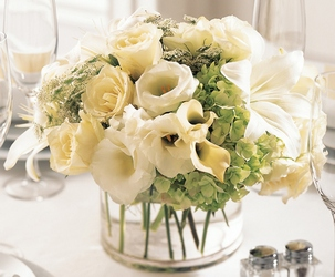 White Linen Centerpiece from Clermont Florist & Wine Shop, flower shop in Clermont