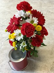 Red Paint Bucket from Clermont Florist & Wine Shop, flower shop in Clermont