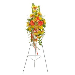 Heaven's Sunset Sm. Standing Spray from Clermont Florist & Wine Shop, flower shop in Clermont