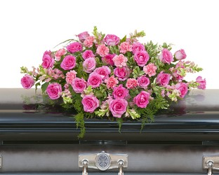 Peaceful Pink Casket Spray from Clermont Florist & Wine Shop, flower shop in Clermont