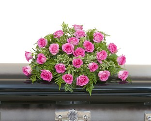 Pink Rose Casket Spray from Clermont Florist & Wine Shop, flower shop in Clermont