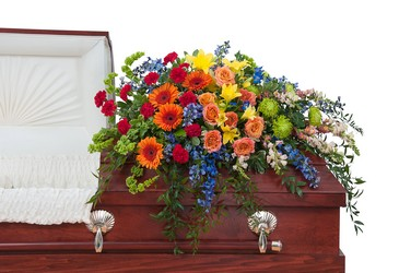 Treasured Celebration Casket Spray from Clermont Florist & Wine Shop, flower shop in Clermont
