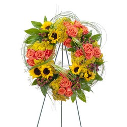 Heaven's Sunset Wreath from Clermont Florist & Wine Shop, flower shop in Clermont