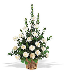 White Simplicity Basket from Clermont Florist & Wine Shop, flower shop in Clermont